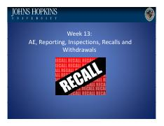 Lecture 13 AE, Reporting, Inspections, Recalls and Withdrawals (Plain)(1).pdf