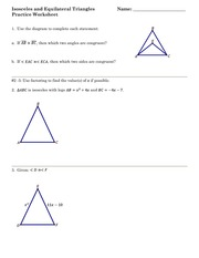 Worksheets Isosceles And Equilateral Triangles Worksheet isosceles and equilateral triangles practice worksheet if possible 2 is