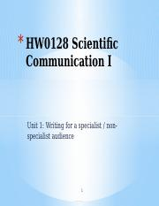 HW0128 Sem2AY16-17 Unit 1 (Writing for specialist & non-specialist audience) (1)
