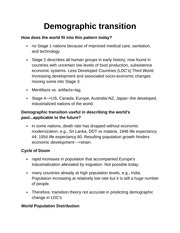 Demographic transition Notes