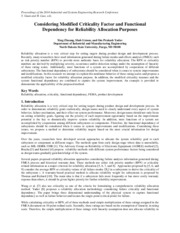 Considering Modified Criticality Factor and Functional Dependency for Reliability Allocation Purpose