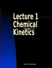 Lecture 1 Chemical Kinetics