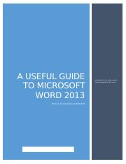 A Useful Guide to Microsoft Word 2013 HYB
