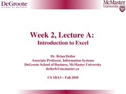 Week 2 A Introduction To Excel