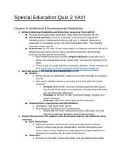 Special Ed Quiz 2 Special Education Quiz 2 Yay Chapter 5