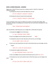 Work and Power Problems Worksheet Answers - WORK POWER PROBLEMS ...