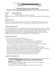 BUS485B SP13 Business Policy Strategy-Herrity-Revised Jan 2013
