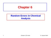 Chapter 6 (Random Errors in Chemical Analysis)