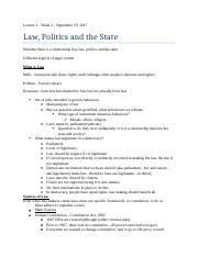 Lecture 2 - September 19, 2017 - Law, Politics, and the State.docx