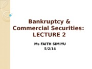 Bankruptcy Lecture 2