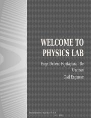 Welcome to physics lab