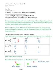 1.8 Trig Functions of Special Angles Part 2