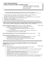 Resume example - Adult Development - CYF 2