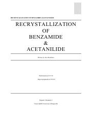 Recrystallization of Benzamide & Acetanilide Lab Report.pdf