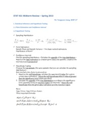 STAT 431 Midterm Review – Spring 2013