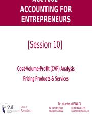 [Session 9] CVP Analysis & Pricing