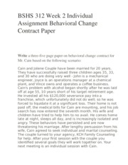 BSHS 312 Week 2 Individual Assignment Behavioral Change Contract Paper