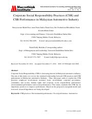 Corporate Social Responsibility Practices (CSR) and CSR Performance in Malaysian Automotive Industry