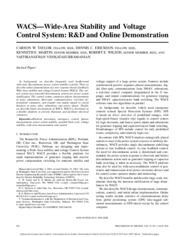 WACS Wide-Area Stability and Voltage Control System R&D and Online Demonstration