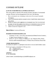 Course Outline Environmental Economics and Policy