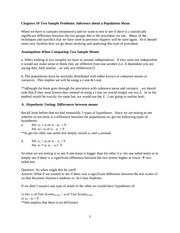 Chapters 10 Two Sample Problems -Hypothesis Testing