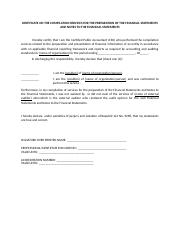 CERTIFICATE ON THE COMPILATION SERVICES FOR THE PREPARATION OF THE FINANCIAL STATEMENTS AND NOTES TO
