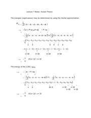 Lecture 7 Notes Huckel Theory