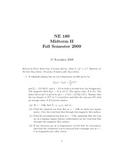 Nuclear Engineering 180- Fall 2009- Moorse- Midterm 2 Exam
