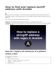 How to find and replace text IP address with Ansible pdf