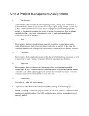 unit project management assignment unit project management  this is the end of the preview sign up to access the rest of the document unformatted text preview unit 2 project management assignment