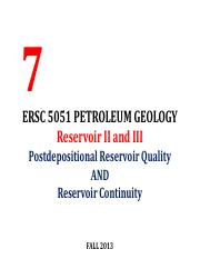 Lecture 7 ERSC 5051 Petroleum Geology Reservoir II Postdepositional Reservoir Quality FAll 2013