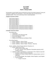Accounting Exam 1 Study Guide