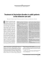 Electrolyte Disorders in Adult Patients