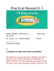 Activity for today (Apr 6) in Practical Research 1.docx