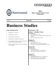 Ravenswood 2012 Business Studies Trials & Solutions