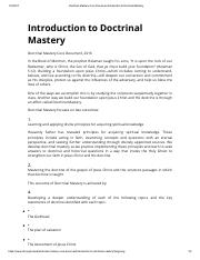 Doctrinal Mastery Core Document Introduction to Doctrinal Mastery