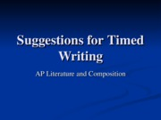 Suggestions for Timed Writing