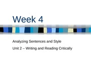 Week 4 - Analyzing Sentences and Style