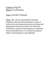 Claim Research Paper (Juvenile Criminals)