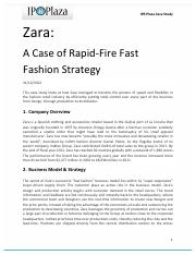 Zara_ A Case of Rapid-Fire Fast Fashion Strategy