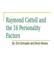 Raymond Cattell and the 16 Personality Factors