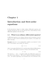 Ch 1 Introduction & First Order ODE