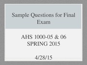 Sample Final Exam Questions