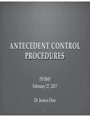 Lec 8 antecedent control procedures