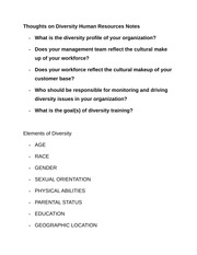 Thoughts on Diversity Human Resources Notes
