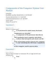Components of the Computer System Unit Module Quiz - Completed.docx