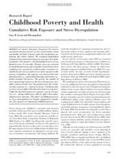 Childhood Poverty and Health