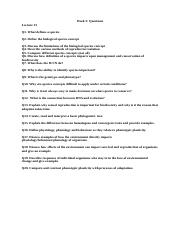 Week 5 questions and answers biol1030