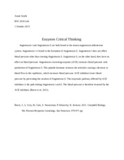 BSC 2010 Lab Enzymes Critical Thinking.docx