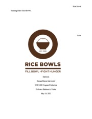 Rice Bowls Evaluation Paper